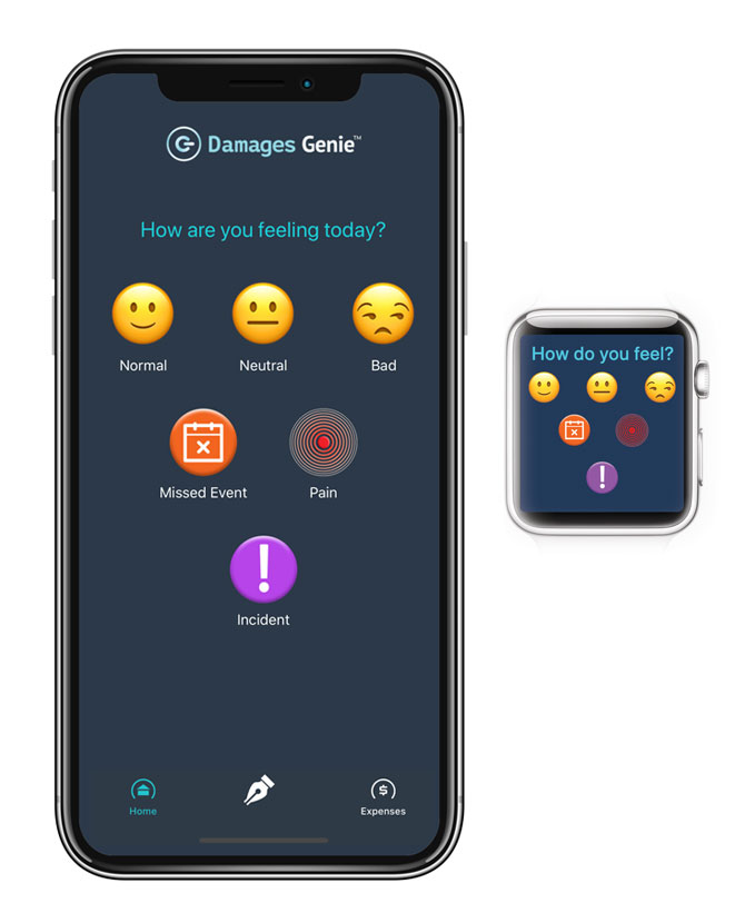 Damages Genie legal app and AppleWatch interface